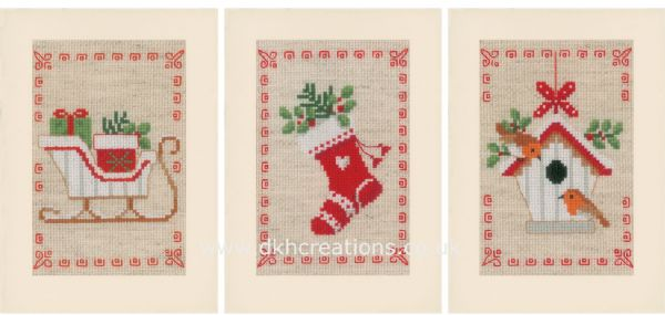 Christmas Motifs Birdhouse Greetings Cards Cross Stitch Kit